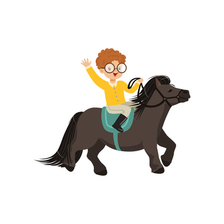 Cheerful redhead little boy riding pony horse, childrens equestrian sport vector Illustration isolated on a white background
