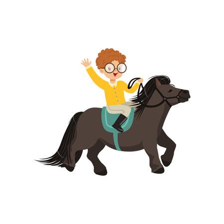 Vrolijke roodharige kleine jongen rijden pony paard, kinderen paardensport vector illustratie geïsoleerd op een witte achtergrond Vector Illustratie