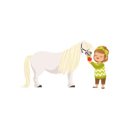 赤いリンゴでそれを供給する彼女のポニー馬の世話をする素敵な小さな女の子は、彼女の動物のベクトルイラストの世話をする子供
