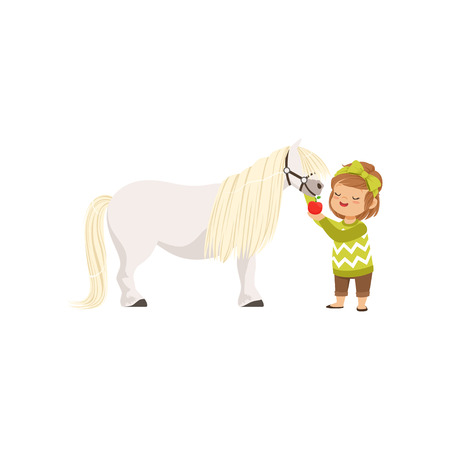 Lovely little girl taking care of her pony horse feeding it with red apple, kid taking care of her animal vector Illustration Çizim
