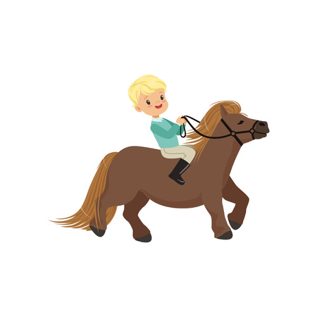 Cheerful blonde little boy riding pony horse, childrens equestrian sport vector Illustration isolated on a white background