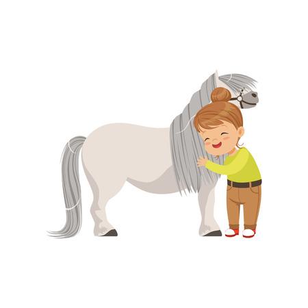 Lovely little girl hugging pony horse, kid taking care of her animal vector Illustration isolated on a white background