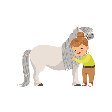 Lovely little girl hugging pony horse, kid taking care of her animal vector Illustration isolated on a white background