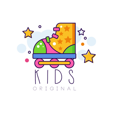 Kids original, creative concept template, design element with roller skate colorful hand drawn vector Illustration isolated on a white background. Vettoriali
