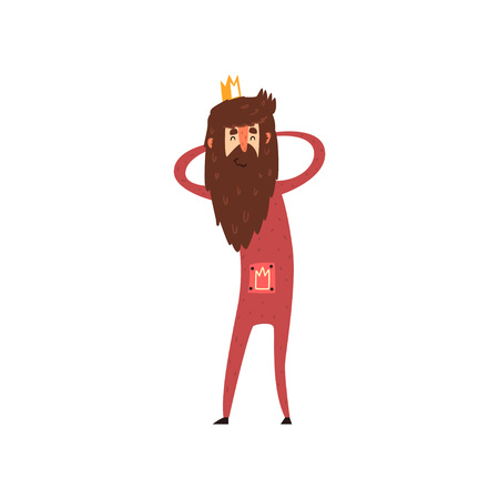 Funny bearded king character holding his head cartoon vector Illustration Çizim