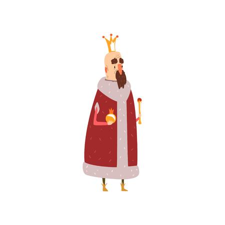Grappig m = kaal koningkarakter in rode mantel die orb en scepterbeeldverhaal vectorillustratie houden