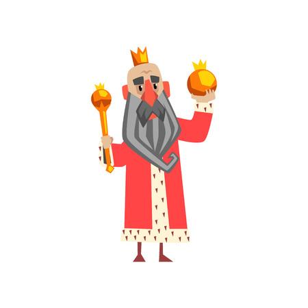 Funny king character in red mantle holding orb and scepter cartoon vector Illustration Ilustração