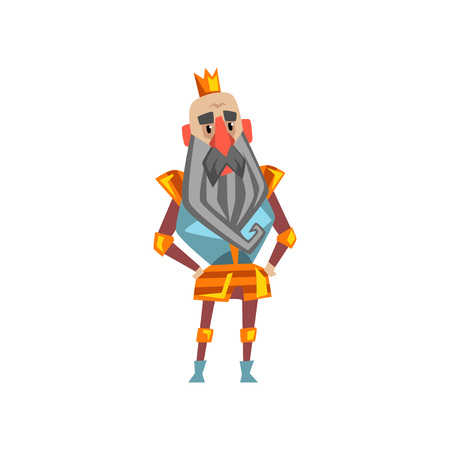Funny bearded king character in golden crown cartoon vector Illustration