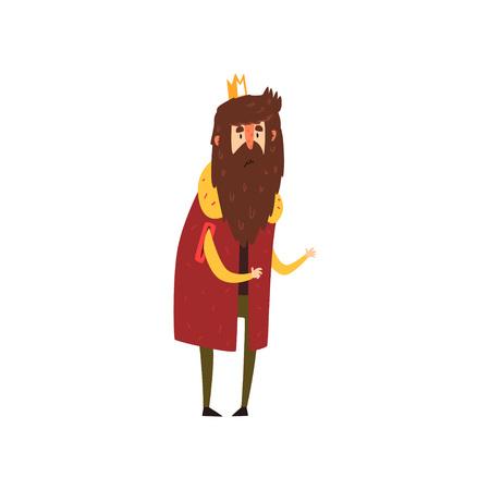 Funny bearded king character cartoon vector Illustration Ilustração