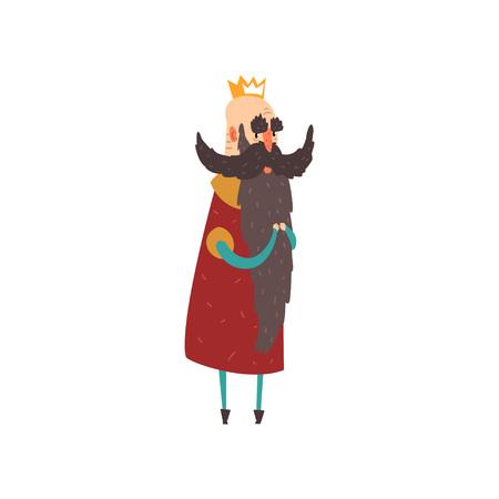 Funny bald bearded character king character cartoon vector Illustration Vectores