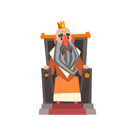 Funny king character sitting on the throne cartoon vector Illustration