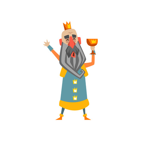 Funny bald king character with golden cup in his hand cartoon vector illustration.
