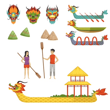 Dragon Boat Festival set of vector Illustrations on a white background