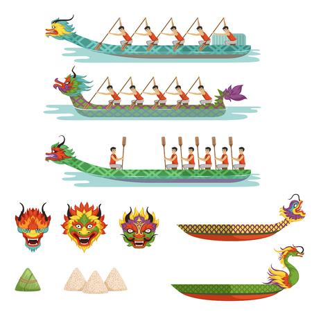 Conjunto de botes de dragón, equipo de atletas masculinos compiten en ilustraciones del vector del festival del barco de dragón.