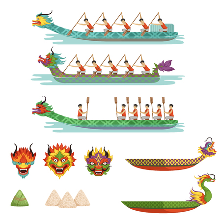 Dragon boats set, team of male athletes compete at dragon boat festival vector illustrations.