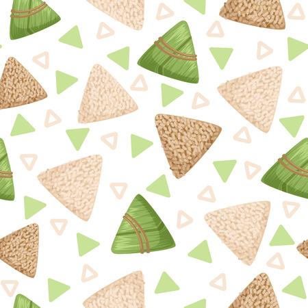 Rice dumpling with bamboo leaf seamless pattern, rice dumpling festival vector Illustrations