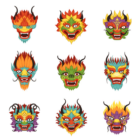 Chinese dragon heads set, Chinese New Year symbol vector Illustrations
