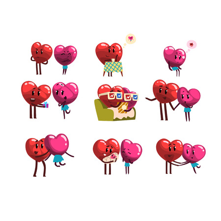 Cute smiling red and pink hearts characters set, funny couples in love with different emotions. Illustration