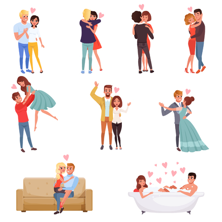 Young men and women characters embracing, dancing and kissing set, happy romantic loving couples cartoon vector Illustrations