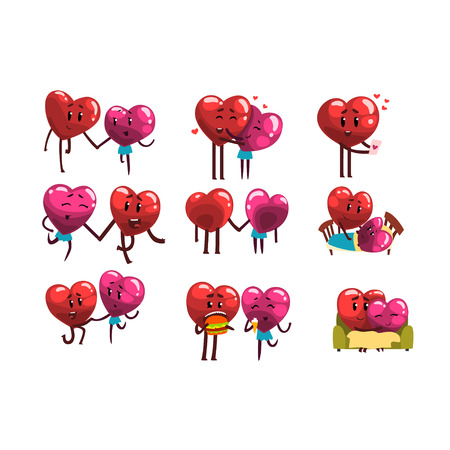 Cute smiling red and pink hearts characters set, funny couples in love with different situations and emotions. Happy Valentines Day concept cartoon vector Illustrations