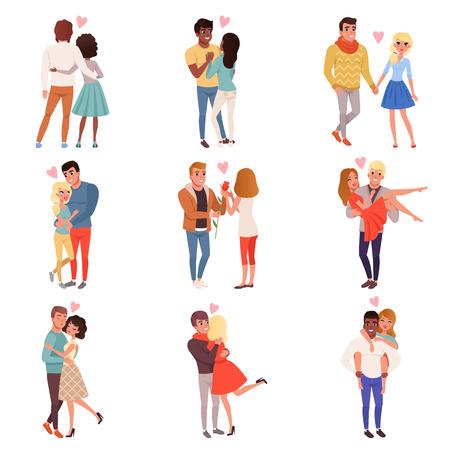 Charaktere der jungen Männer und der Frauen in der Liebe, die Satz, glückliche romantische liebevolle Paarkarikatur-Vektor Illustrationen umarmt