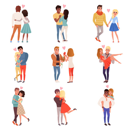 Young men and women characters in love hugging set, happy romantic loving couples cartoon vector Illustrations