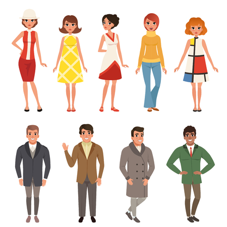 Young men and women wearing retro clothing set, vintage fashion people from 50s and 60s vector Illustrations