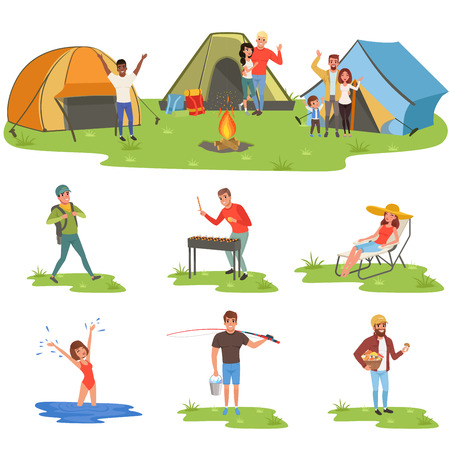 Camper people set, tourists traveling, camping and relaxing, fishing vector Illustrations Illustration