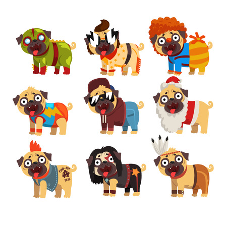 Funny pug dog character in colorful funny costumes set, vector Illustrations Stock Illustratie