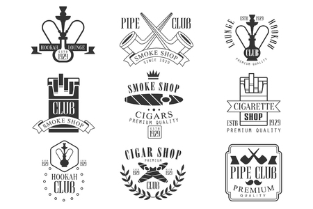 Smoke shop vintage black and white emblems. Stock Illustratie