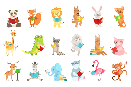 Cute animal characters reading books set.