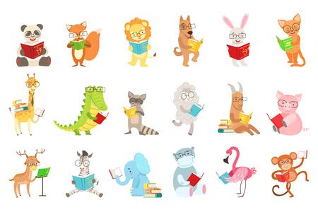 Zestaw ładny znaków zwierząt, czytanie książek.