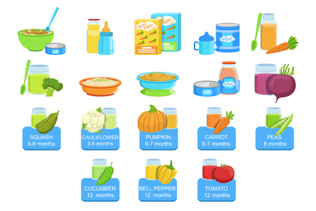 Baby food and products set of icons.