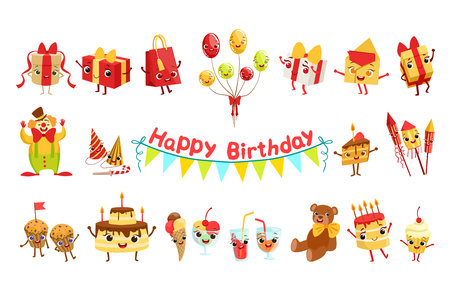 Cute birthday party celebration related objects characters set.