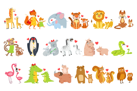 Baby animals and their moms illustration set.