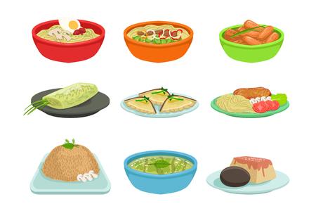 Asian Food Set  イラスト・ベクター素材