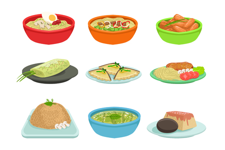 Asian Food Set Stock Illustratie
