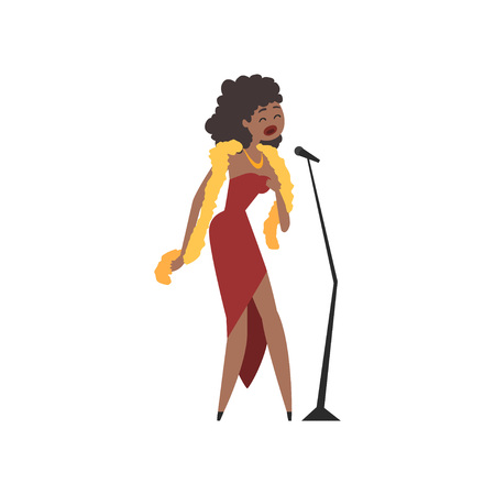 African American female jazz singer in red dress singing into microphone vector Illustration Иллюстрация