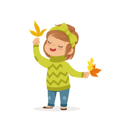 Sweet little girl in in a green sweater holding colorful maple leaves, cute kid enjoying fall, autumn kids activity vector Illustration
