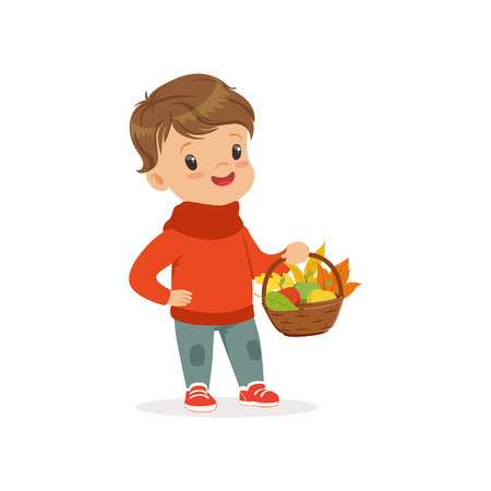 Cute little boy in warm clothing holding basket with apples and maple leaves, lovely kid enjoying fall, autumn kids activity vector Illustration