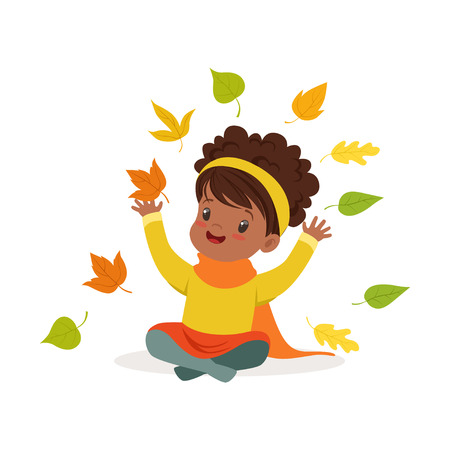 Sweet African American little girl in warm clothing throwing leaves up, cute kid enjoying fall, autumn kids activity vector Illustration