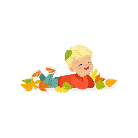 Cute little boy in warm clothing lying on the ground in colorful autumn leaves, lovely kid enjoying fall, autumn kids activity vector Illustration Illustration