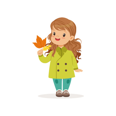 Sweet little girl in in green coat holding colorful maple leaves, cute kid enjoying fall, autumn kids activity vector Illustration