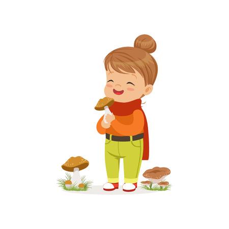 Beautiful little girl in warm clothing collecting mushrooms, cute kid enjoying fall, autumn kids activity vector Illustration Illustration