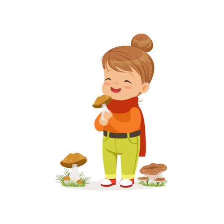 Beautiful little girl in warm clothing collecting mushrooms, cute kid enjoying fall, autumn kids activity vector Illustration Illustration