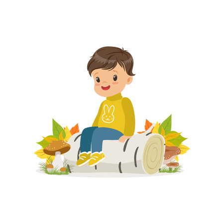 Cute little boy in warm clothing sitting on the birch log in autumn forest, lovely kid enjoying fall, autumn kids activity vector Illustration isolated on a white background Vectores