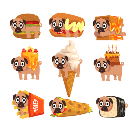 Cute funny pug dog character as fast food ingredient set of vector Illustrations on a white background Stock Vector - 95408300