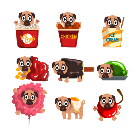 Cute funny pug dog character inside fast food products vector Illustrations on a white background Standard-Bild - 95413017