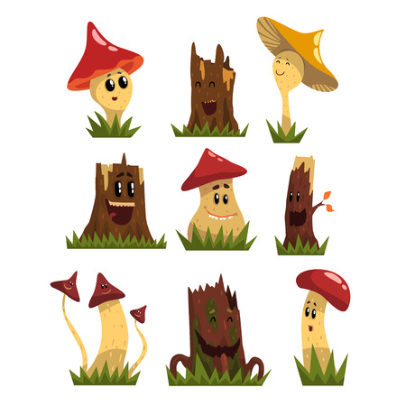 Funny mushrooms characters set, cute humanized forest mushrooms and stamps with smiling faces vector Illustrations on a white background