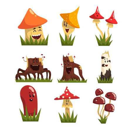 Funny mushrooms characters with colorful caps set, cute humanized mushrooms and stamps with smiling faces vector Illustrations on a white background